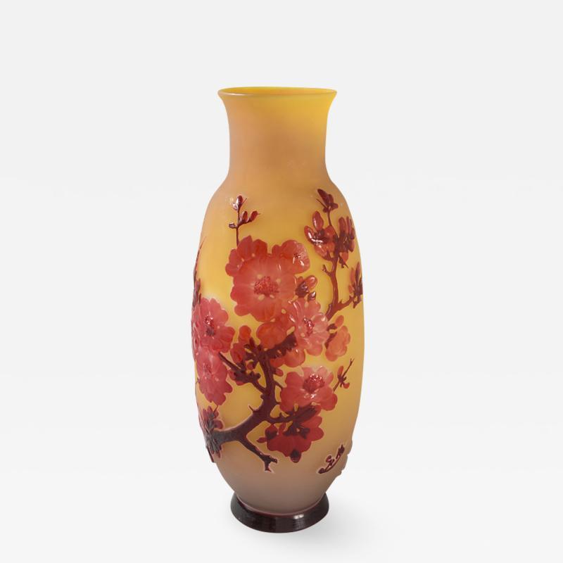 mile Gall French Art Nouveau Fleurs de Pommier Cameo Glass Vase by mile Gall