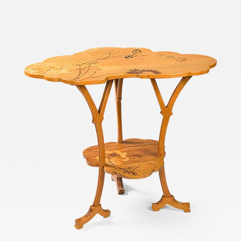 mile Gall French Art Nouveau Wooden Ombelle Table