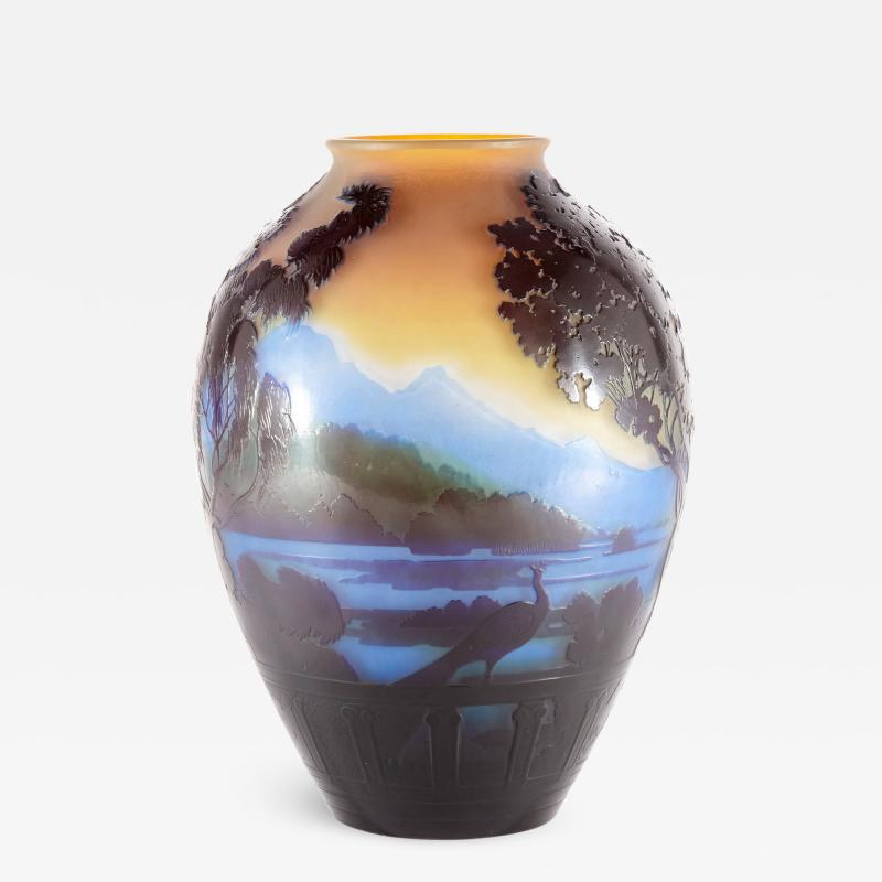 mile Gall French glass vase with cameo relief design by mile Gall