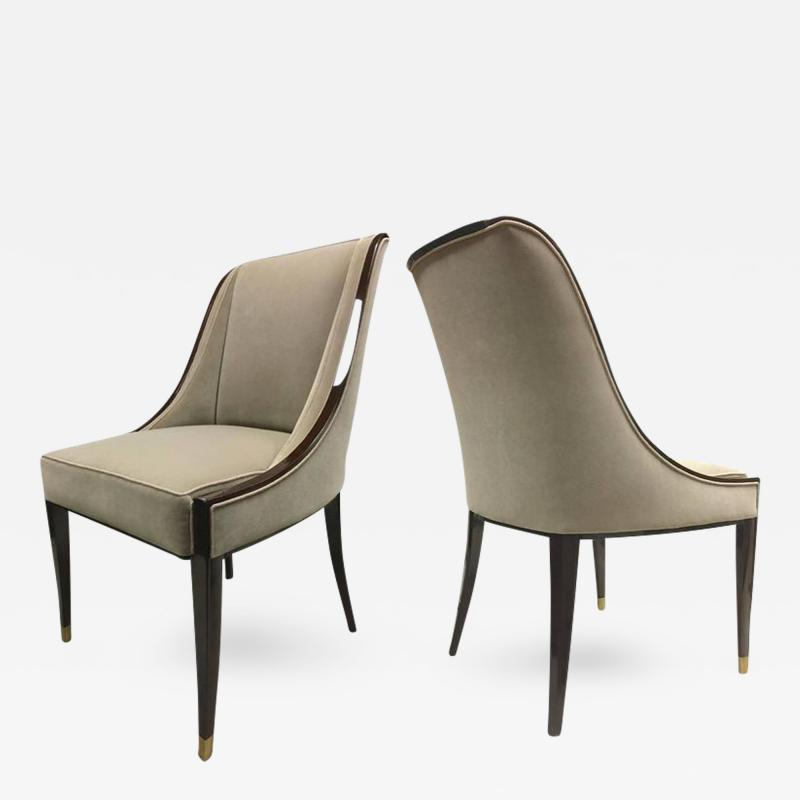 mile Jacques Ruhlmann E J Ruhlmann Stamped Pair of Solid Macassar Chairs with Refined Details
