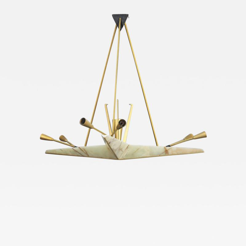 mile Jacques Ruhlmann Large Chandelier in Onyx and Brass Attributed to Jacques Emile Ruhlmann 1940s
