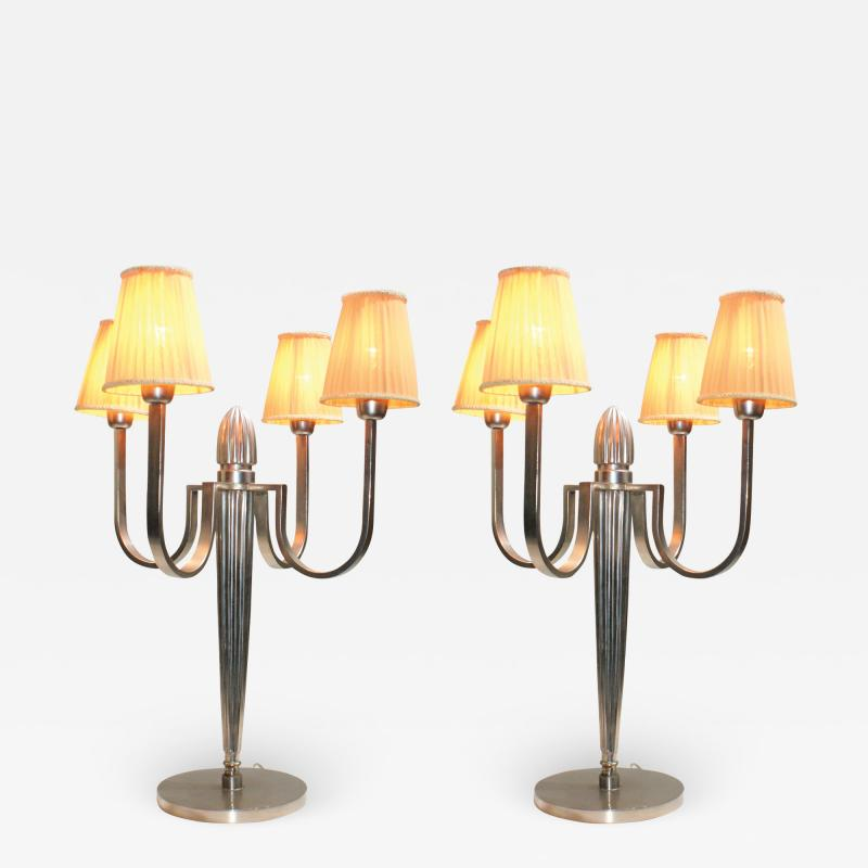 mile Jacques Ruhlmann Stunning Pair of Art Deco Table Lamp in the Style of J E Ruhlmann