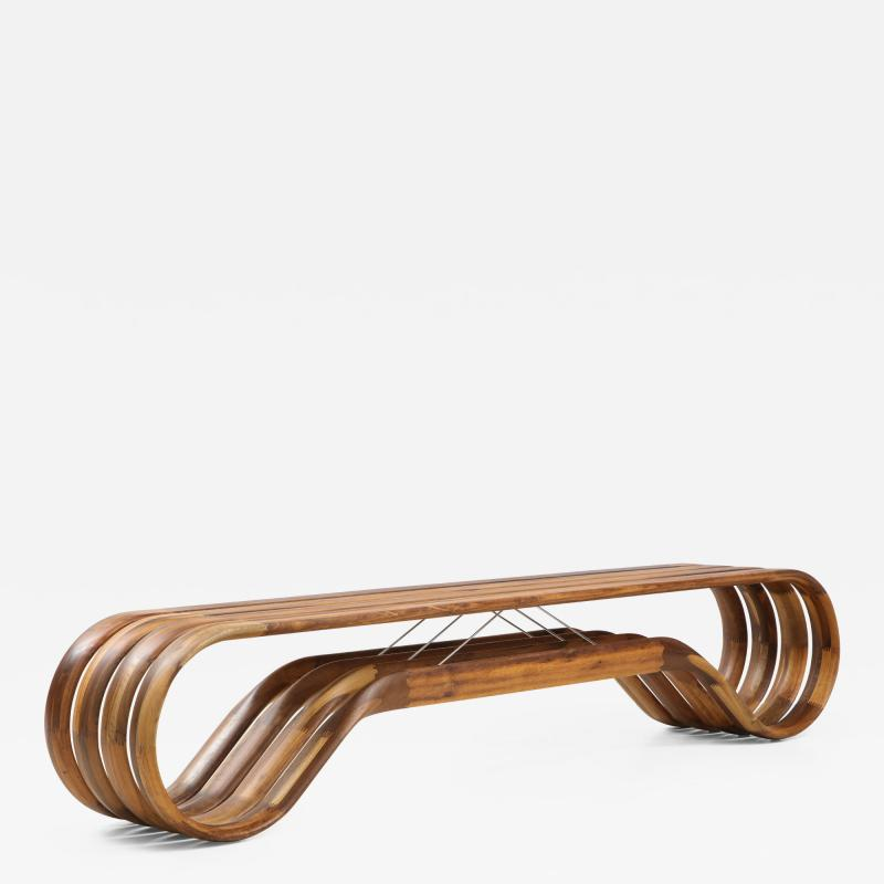 ndio da Costa Contemporary Infinito Wood Bench by Guto ndio da Costa Brazil 2019