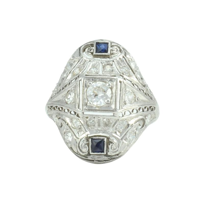 0 63 CTW Diamond and Sapphire Platinum Art Deco Ring