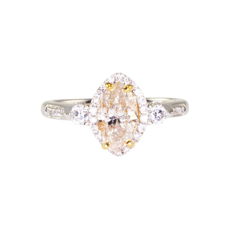0 95 Carat Marquise Diamond 18K White Gold Ring Size 6 5