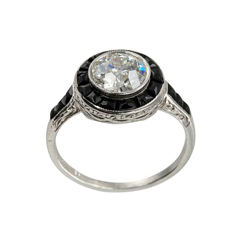 1 13 Carat Diamond and Onyx Art Deco Ring