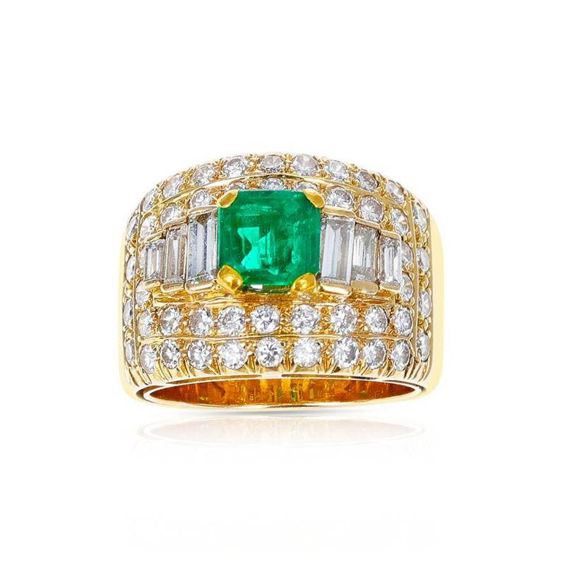 1 15 CT SQUARE CUT EMERALD WITH 2 CT DIAMOND WIDE BAND COCKTAIL RING