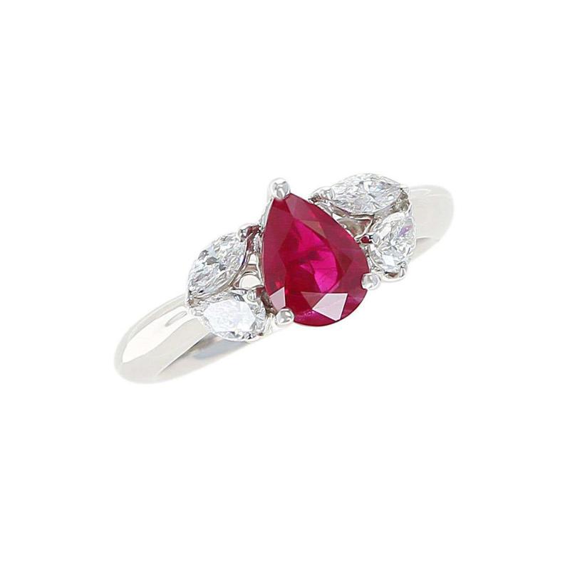 1 27 Carat Pear Shape Ruby and Diamond Three Stone Engagement Ring Platinum