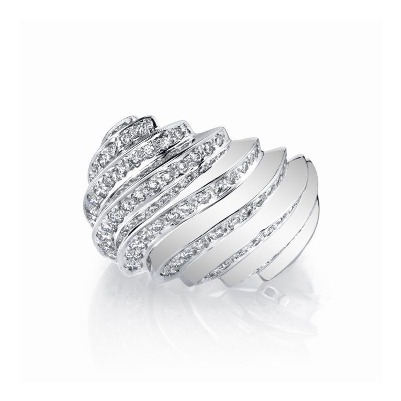 1 31 Carat Diamond Dome Ring 18k White Gold Art Deco Inspired