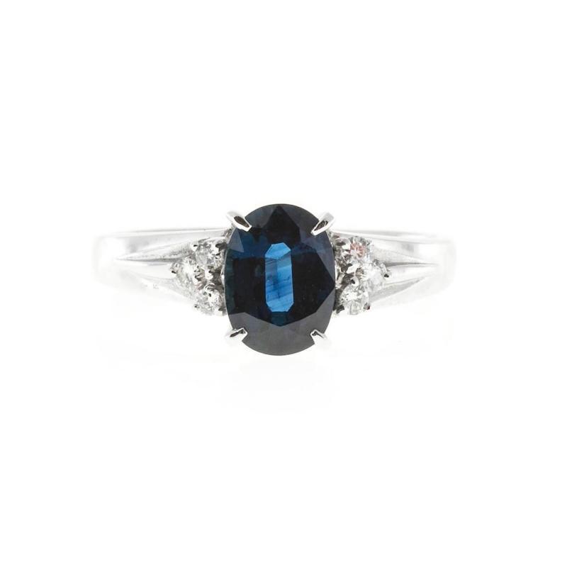 1 45 Carat Cornflower Oval Blue Sapphire Diamond Platinum Engagement Ring
