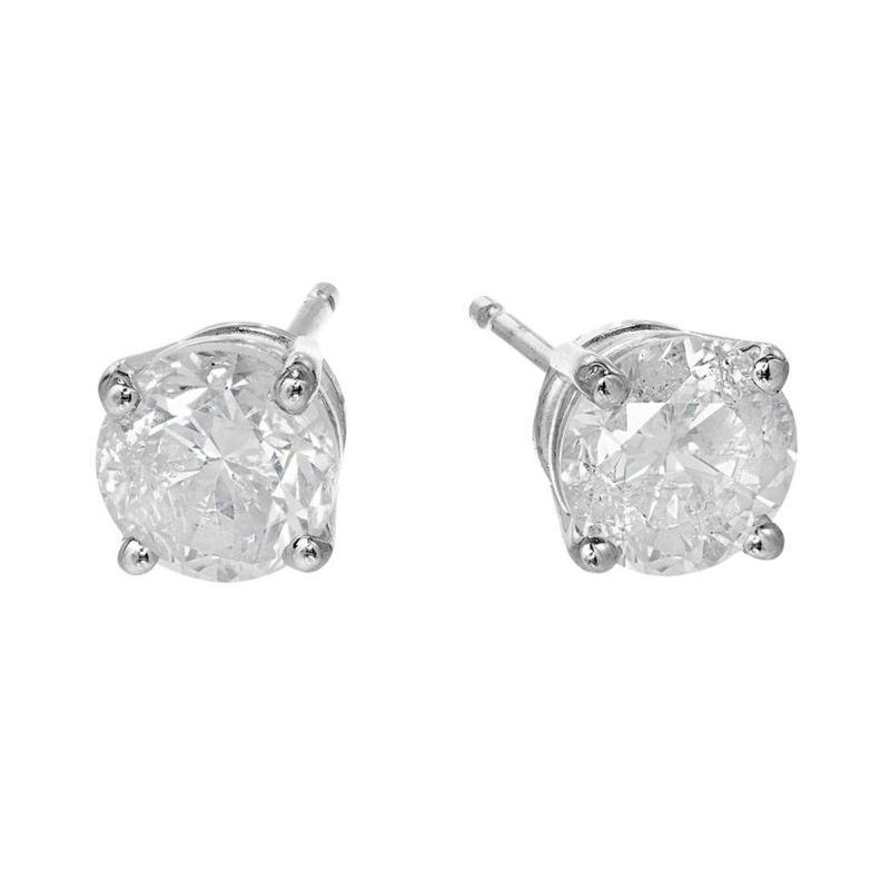 1 46 Carat Diamond White Gold Stud Earrings