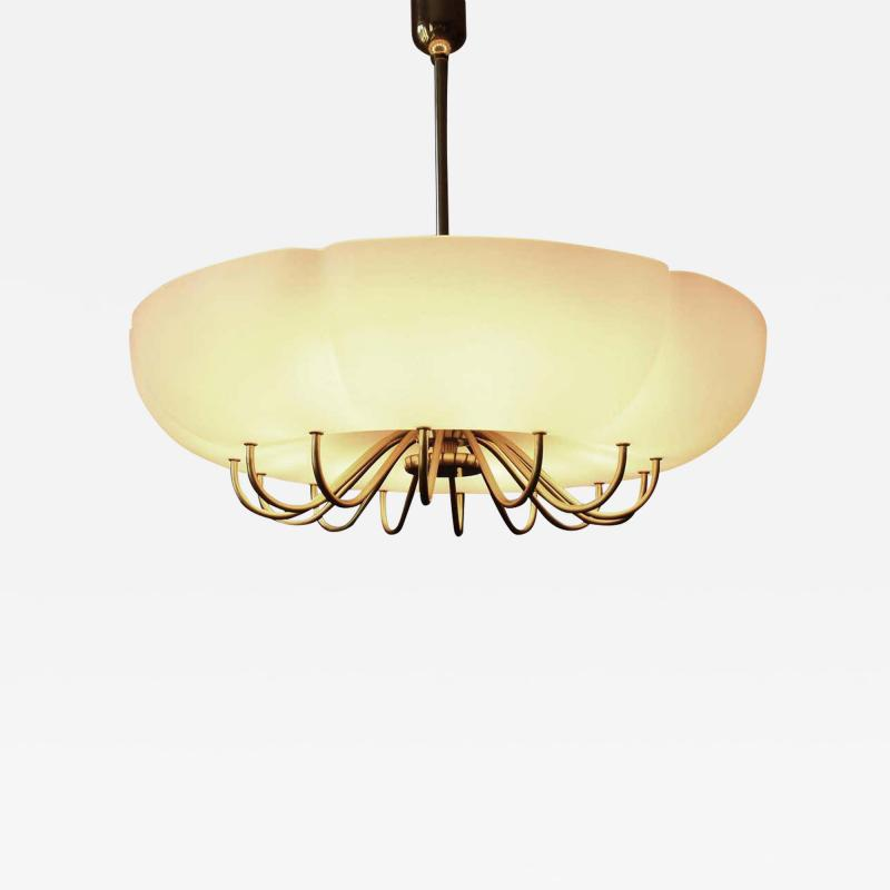 1 of 7 Ballroom Shell Brass Chandeliers Germany 1950s