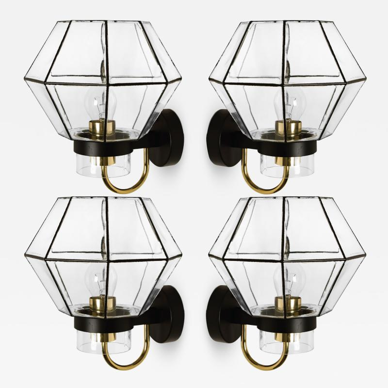1 of the 30 Iron and Clear Glass Wall Lights by Glash tte Limburg 1960