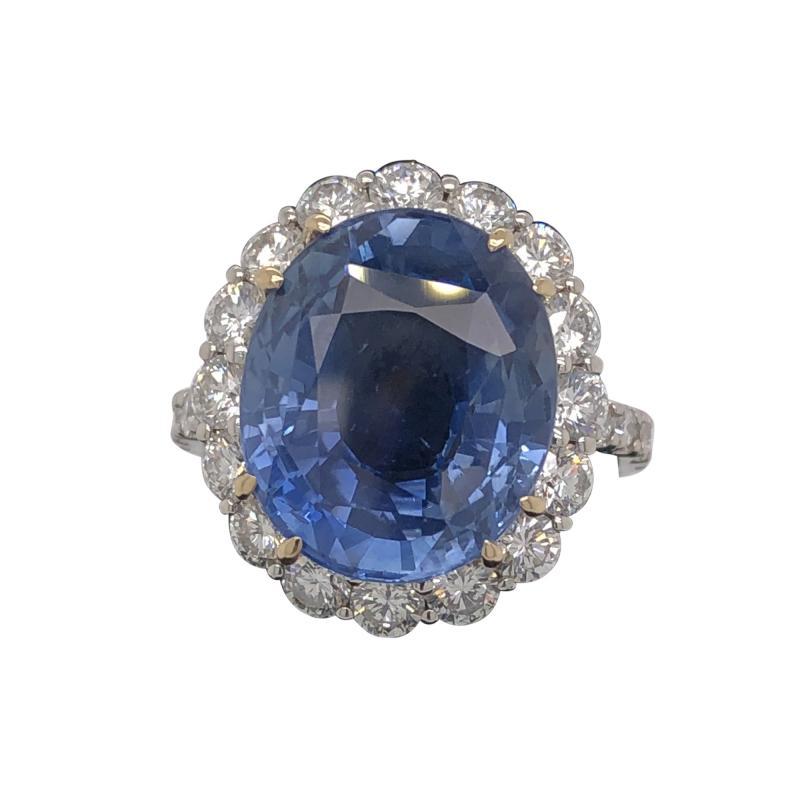 11 18 ct unheated Ceylon sapphire ring