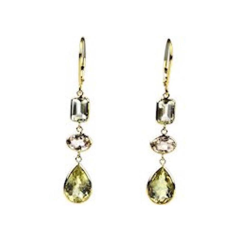 11 5 CT Morganite Yellow Beryl and Aquamarine Earrings 18KT Yellow Gold