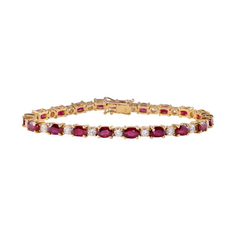 12 0 CTW Ruby and 2 50 CTW Diamond 18K Line Bracelet