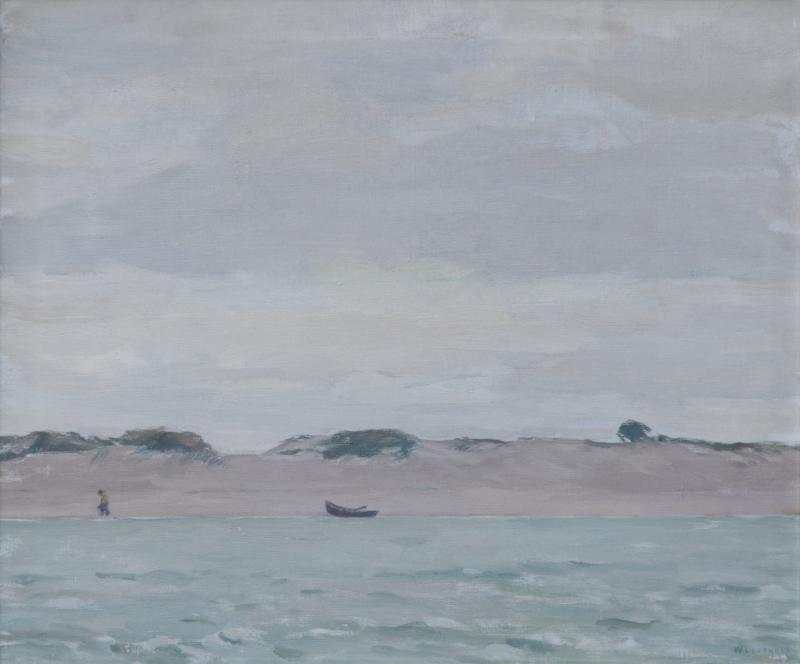 William Langson Lathrop Oil on Canvas Entitled Sand Harbor