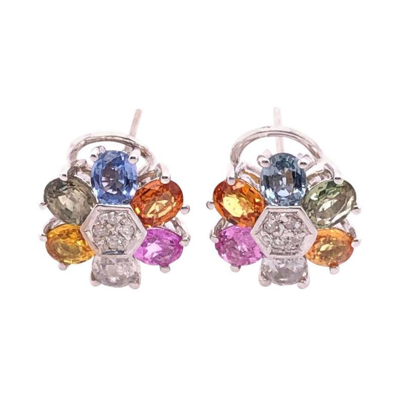 14 Karat Gold Pierced Earrings Multicolored Diamond and Semi Precious Stones