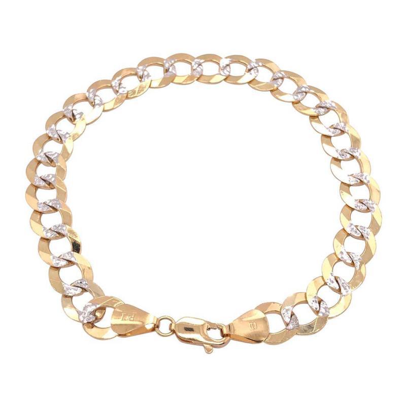14 Karat Two Tone White and Yellow Gold Fancy Link Bracelet