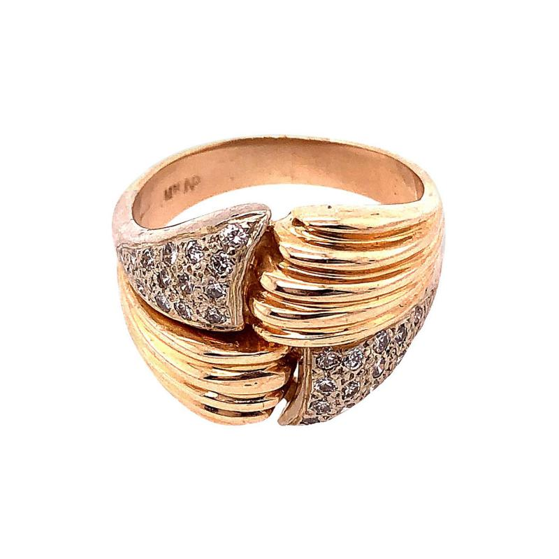 14 Karat Two Tone Yellow and White Gold Fashion Ring with Cubic Zircon