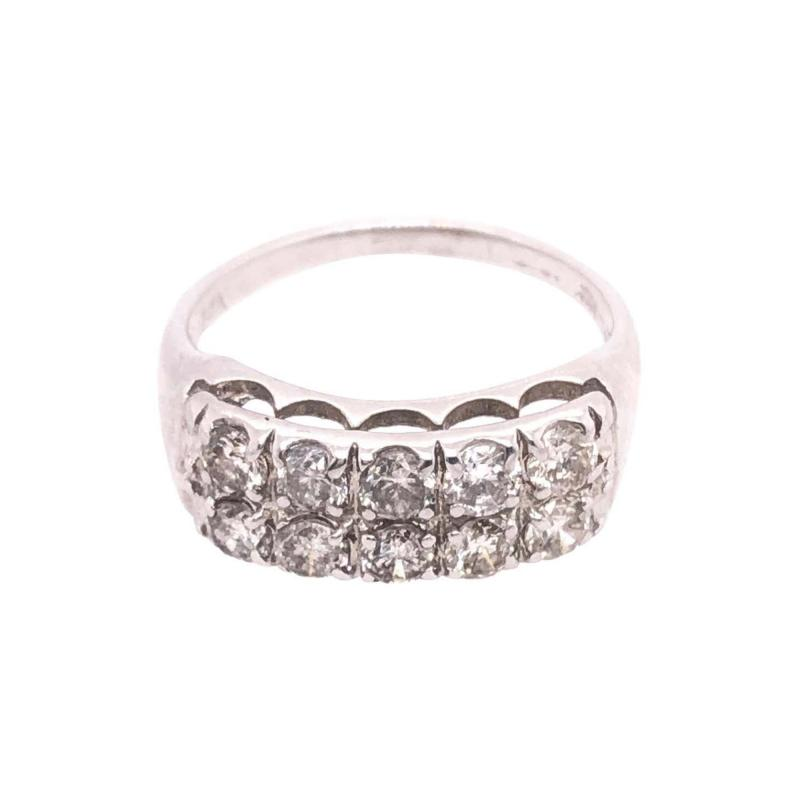 14 Karat White Gold Contemporary Diamond Band Wedding Anniversary Ring