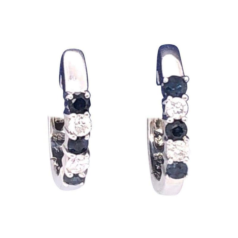 14 Karat White Gold Free Style Sapphire and Diamond Hoop Earrings