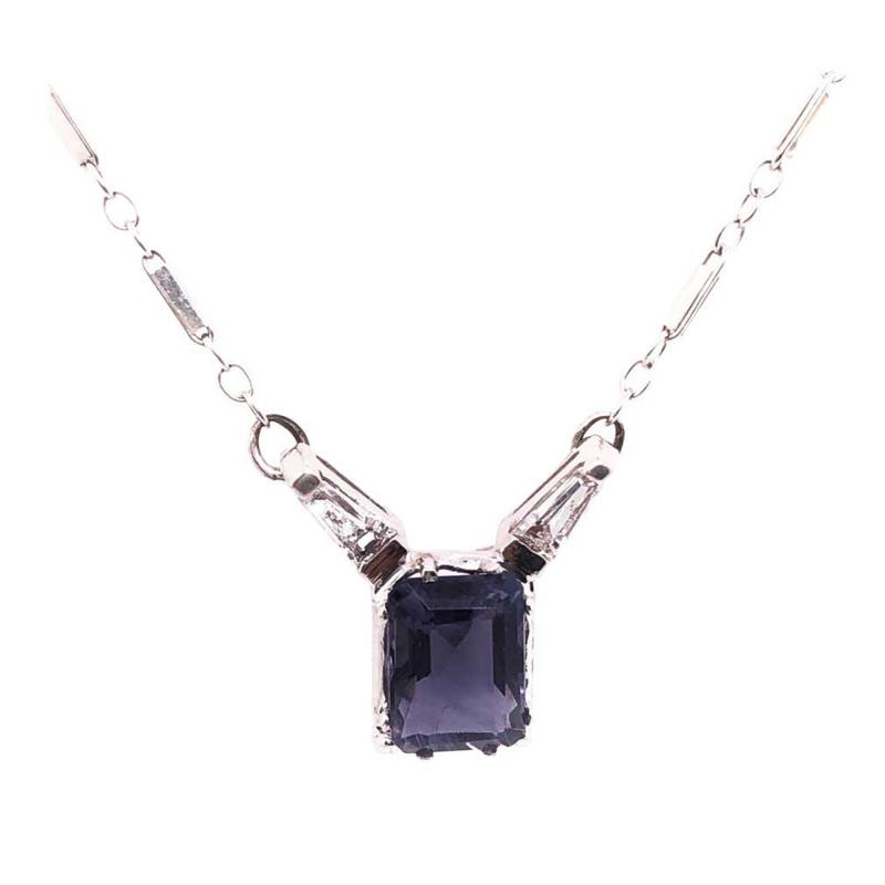 14 Karat White Gold Pendant Necklace with One Square Cushion Tanzannite