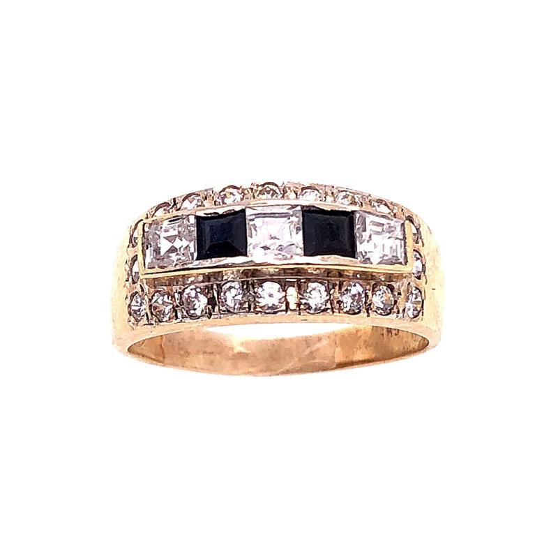 14 Karat Yellow Gold Black Onyx and Diamond Band Ring Wedding Bridal
