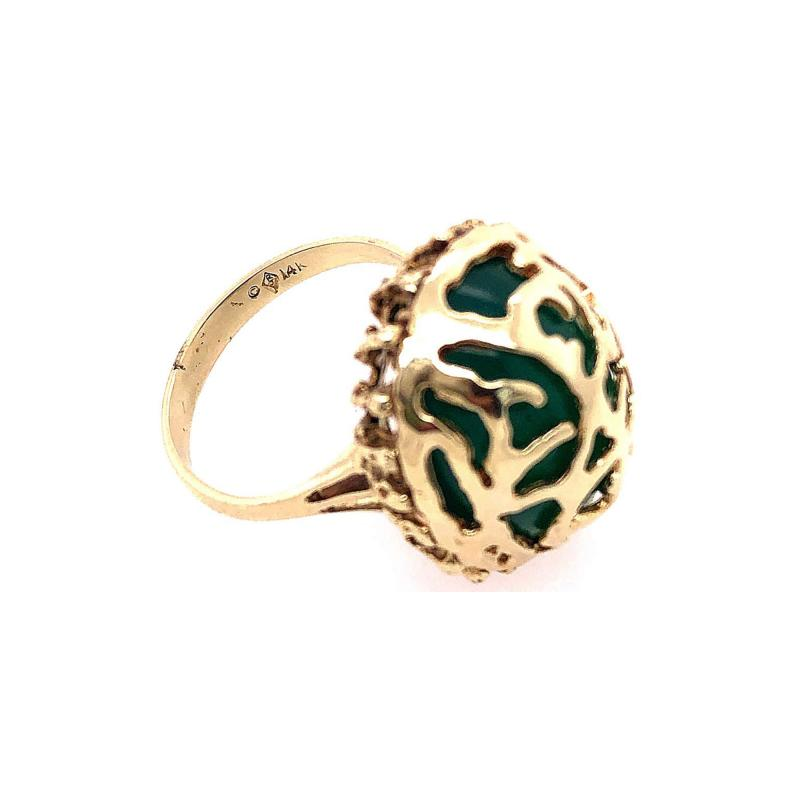 14 Karat Yellow Gold Oval Green Onyx with Filigree Overlay Solitaire Ring