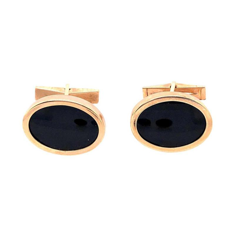 14 Karat Yellow Gold Oval Onyx Cufflinks