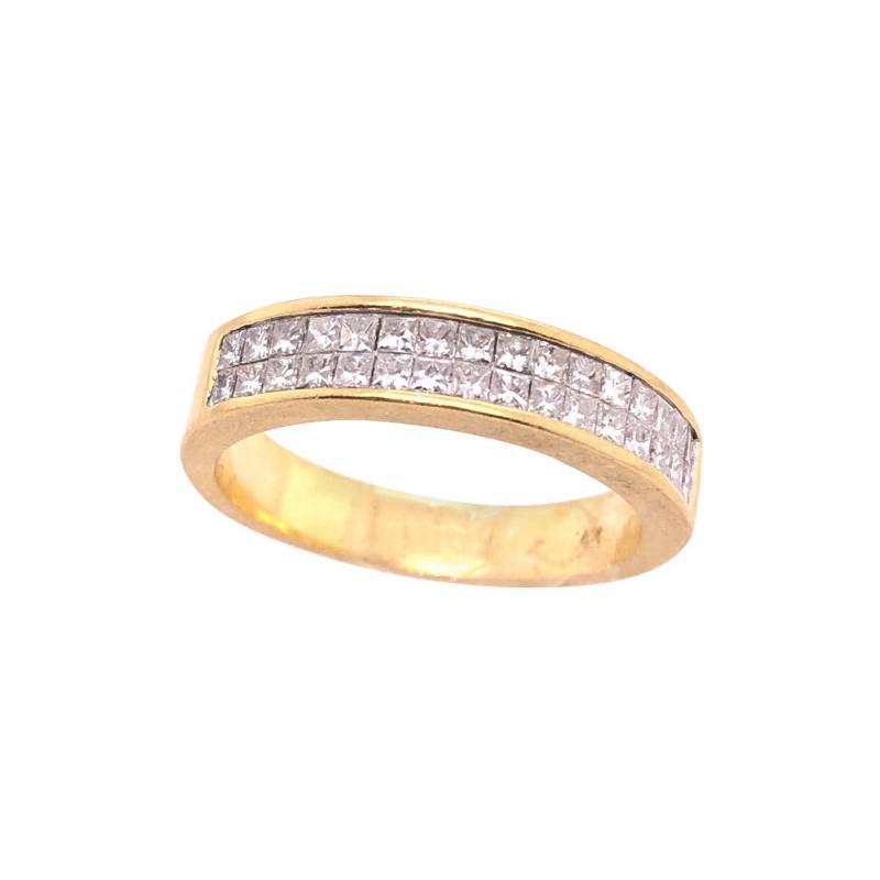 14 Karat Yellow Gold and Double Row Cushion Cut Diamond Wedding Band Ring
