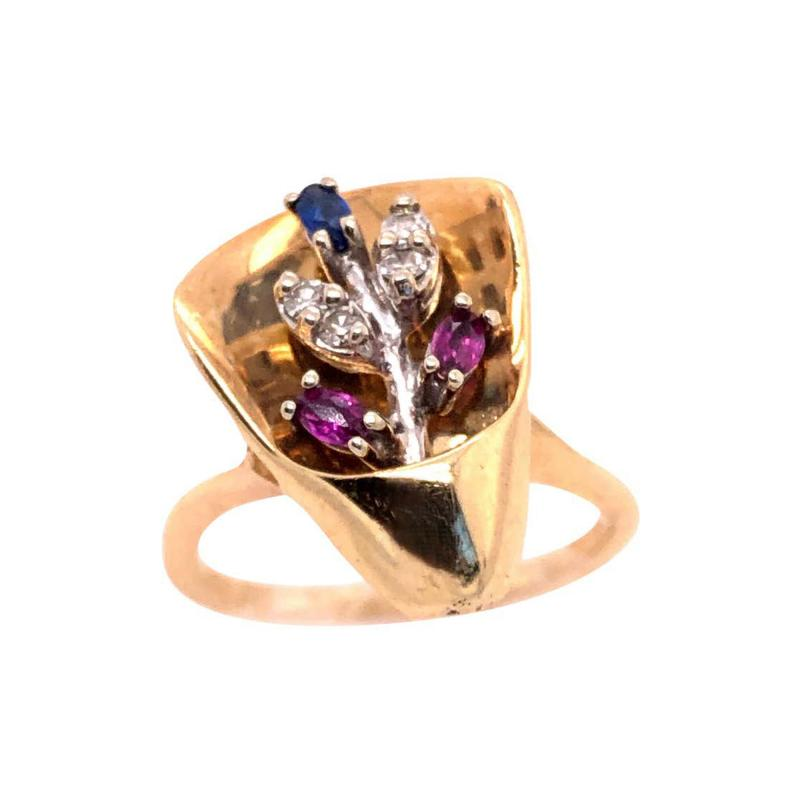 14 Karat Yellow and White Gold with Semi Precious Stones Free Form Ring