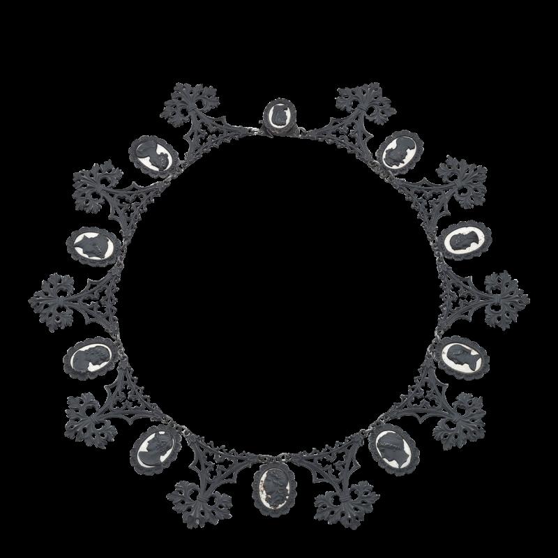 Berlin Iron Mirrored Cameo Necklace Circa 1805 1920