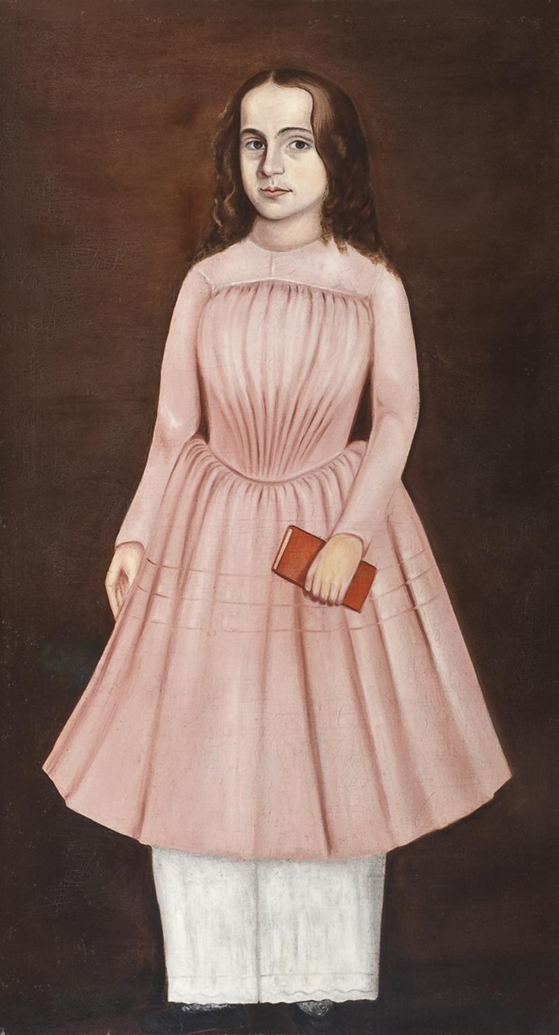 American School Portrait of a Girl in a Pink Dress Holding a Red Book
