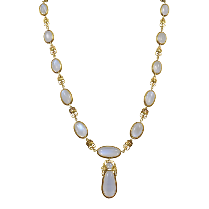 Edward Everett Oakes Oakes Studio Gold and Moonstone Necklace
