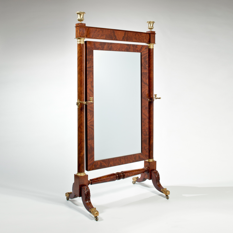 Important Bronze Mounted Mahogany Cheval Dressing Mirror c 1820