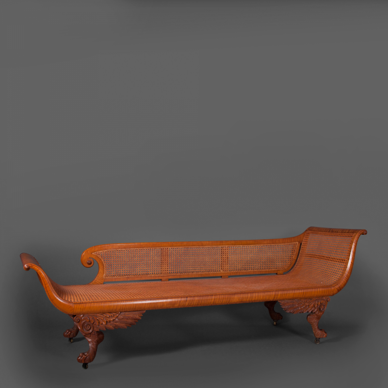 Fine carved figured maple grecian couch