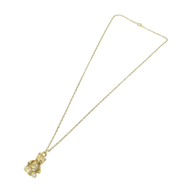 14kt yellow gold and diamond teddy bear on a chain