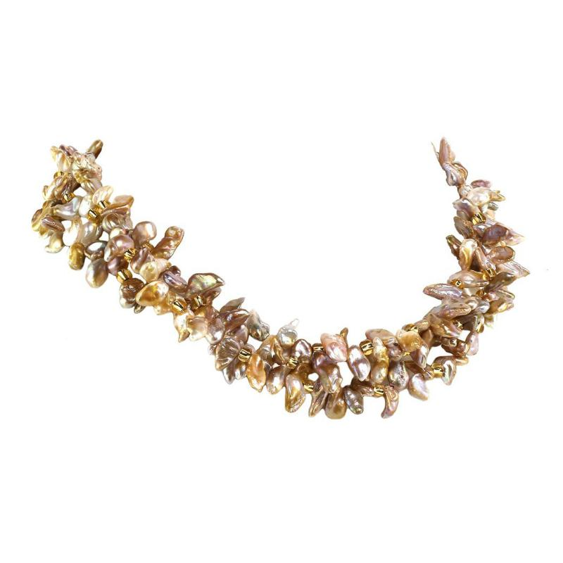 17 Inch Three strand Free form Goldy Gray Pearl Gemjunky Necklace