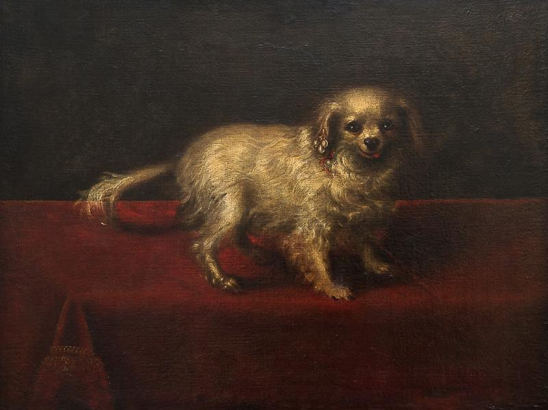 17TH CENTURY PAINTING OF A SMALL WHITE DOG