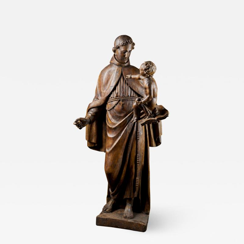 17th C Baroque Saint Italian School Wooden Sculpture of Saint Anthony