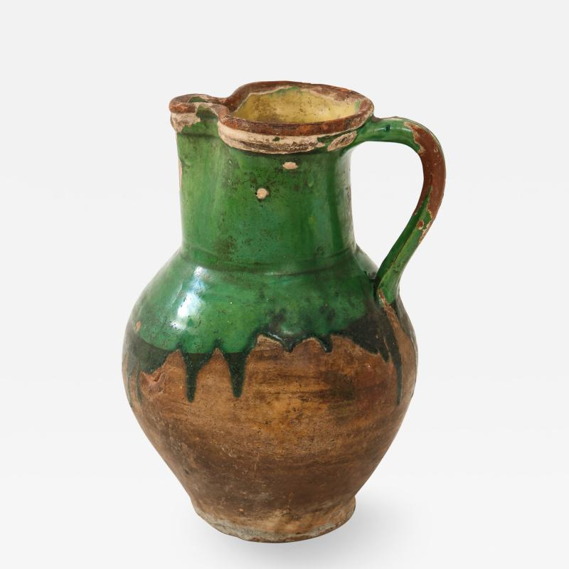17th C Earthenware Pitcher with Yellow Green Glaze Friesland