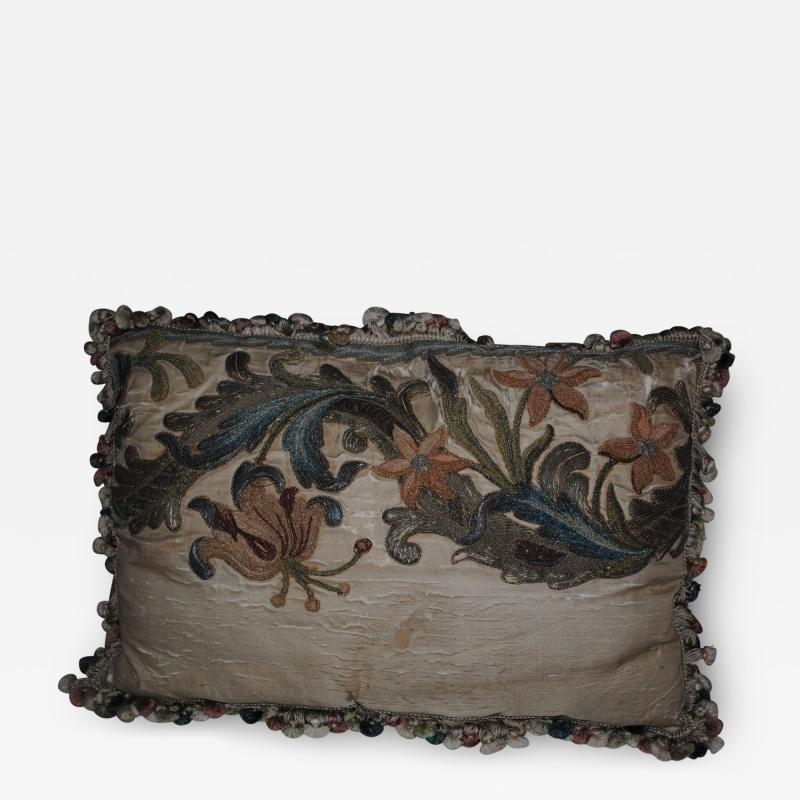 17th c Italian Baroque Embroidered Pillow