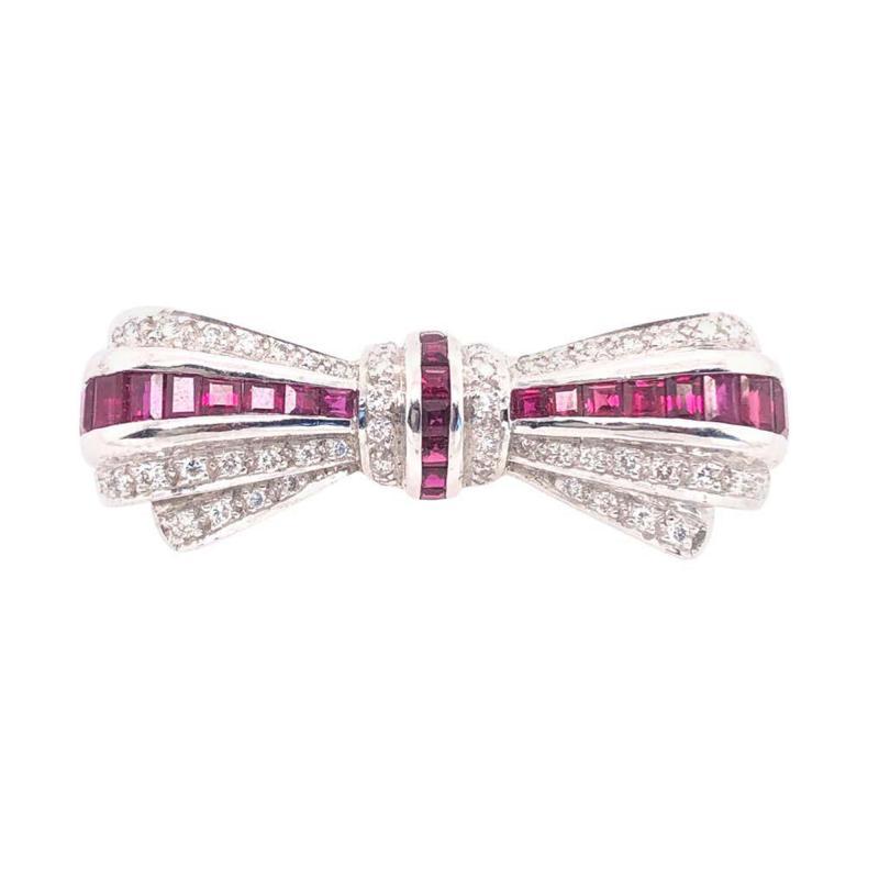 18 Karat White Gold Ruby and Diamond Brooch Pin Art Deco Style