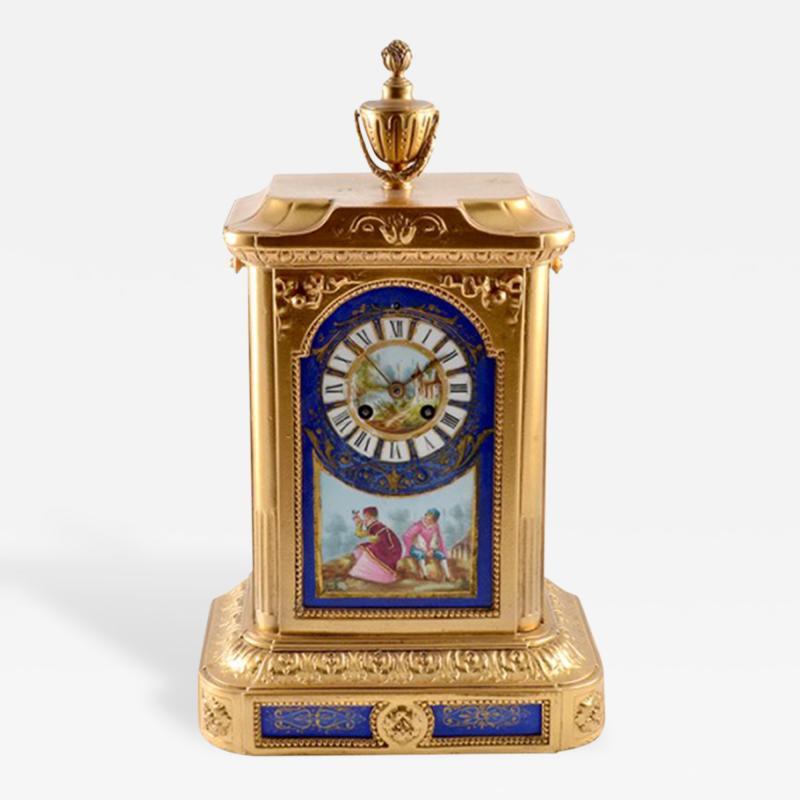 1870s Antique French Sevres Porcelain Ormolu Clock