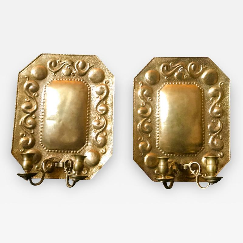 1880 Pair of Dutch Sconces Repousse Brass Two Light Wall Blaker