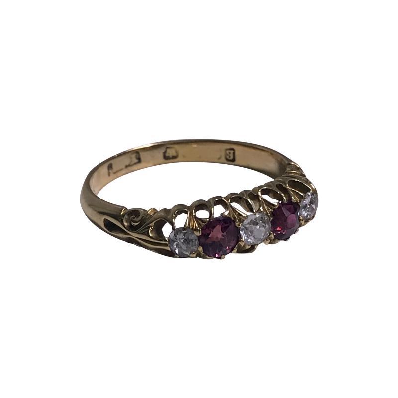 18K Diamond Ruby Ring C 1900