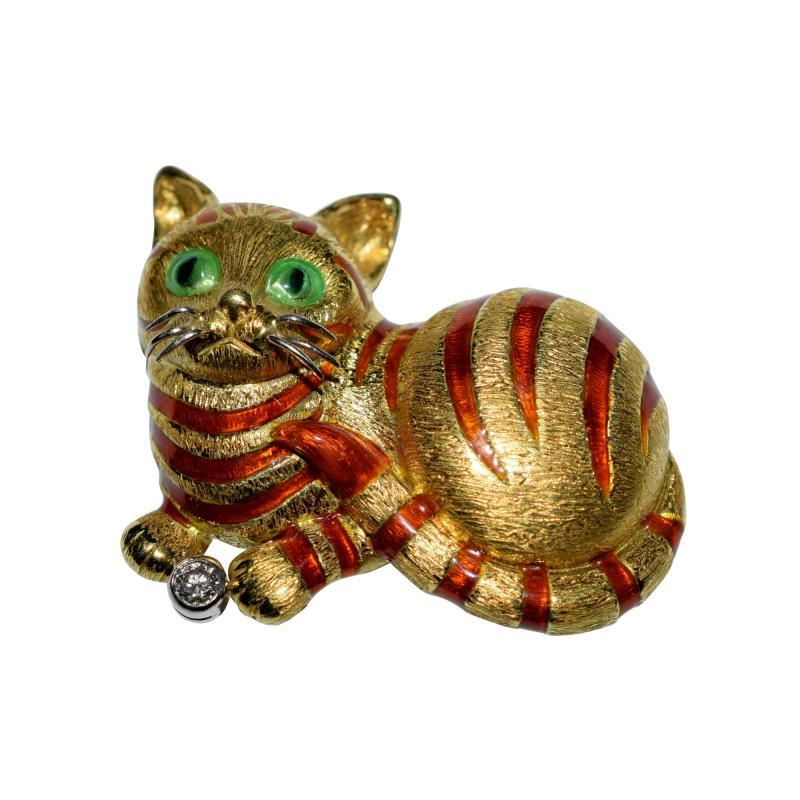 18K Enamel Diamond Cat Brooch