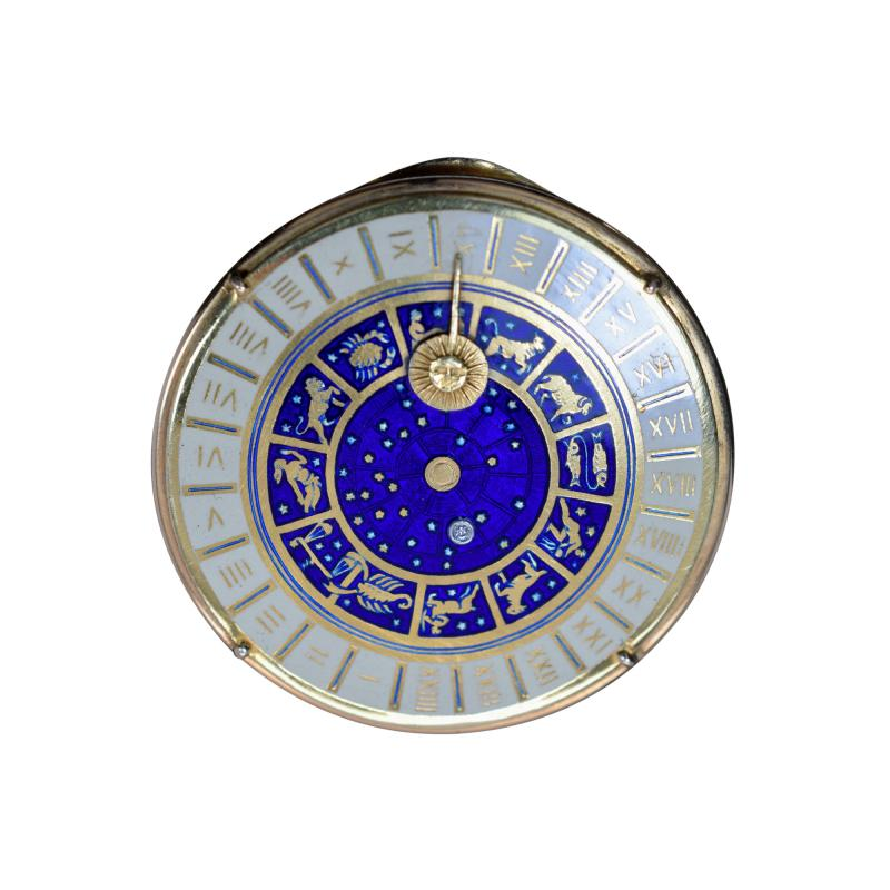 18K Gold Guilloche Enamel Astrological Pill Box