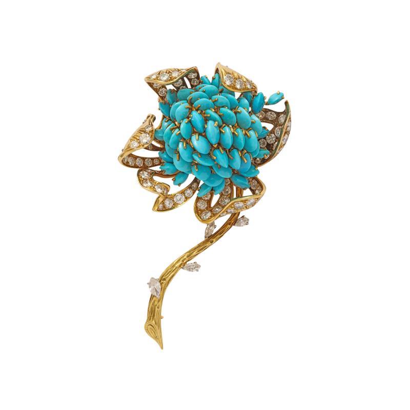 18k Gold Turquoise Diamond Brooch